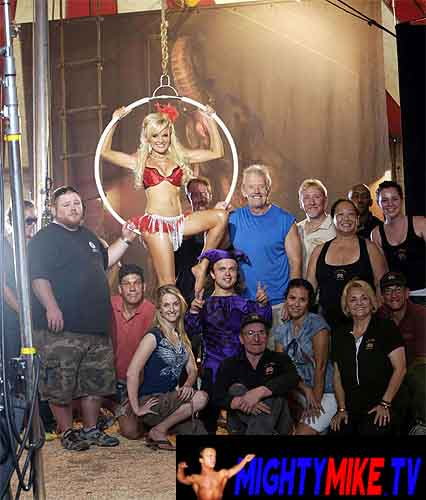 Mighty Mike in a Jester costume on an LA Circus photo shoot with model Bridget