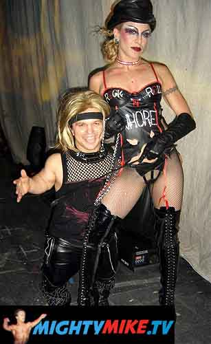 Mighty Mike backstage with fellow Motley performer Jozie Di Maria